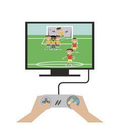 hands play a game console vector image