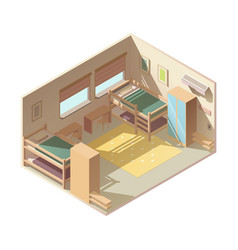 Hostel hotel room isometric interior vector