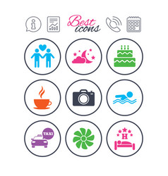 Hotel apartment service icons swimming pool vector