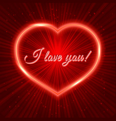 I love you red valentine s day greeting card with vector