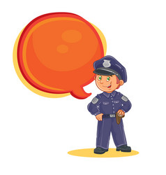 Icon of small child police man vector