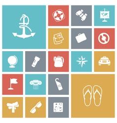 Icons tile travel transportation vector