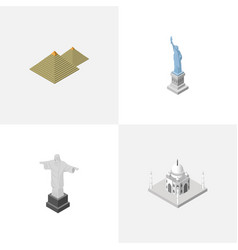 Isometric travel set of rio new york egypt and vector