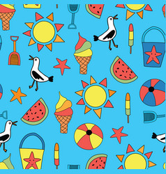 kids summer icons seamless repeating background vector image
