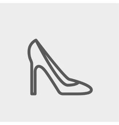 Lady high heel shoe thin line icon vector image