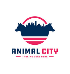 Logo wolf animal city vector