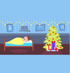 man sleep in bad living room decorated interior vector image