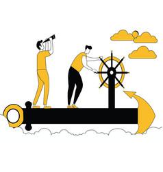 men sailing on ship anchor vector image