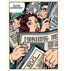 Morning news press crowd metro transport bus vector