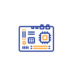 motherboard line icon computer component hardware vector image
