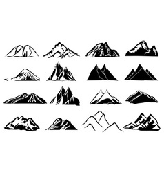 Mountain icons set vector