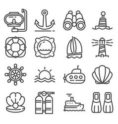 Nautical marine and sea thin line icons vector