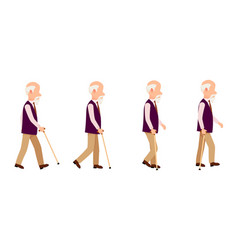 Old man process movement colorful set vector