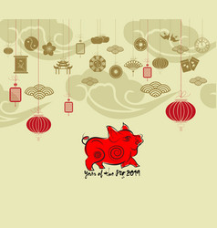 Oriental happy chinese new year 2019 year of the vector