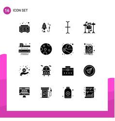 Pack 16 creative solid glyphs moon ruler vector