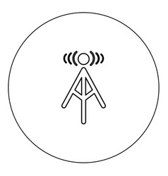radio tower icon black color in circle isolated vector image