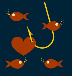 red heart symbol on fishing hook idea - love and vector image