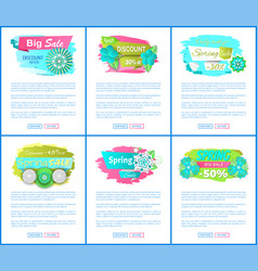 sale web posters with spring blooming flowers set vector image