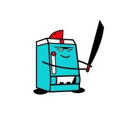 Samurai sushi robot device sign vector image
