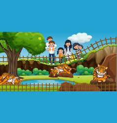 Scene with people visiting zoo vector