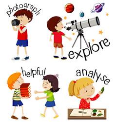 Set children doing activities with action verbs vector
