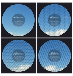 Set of 4 music album cover templates Blue cloudy vector image