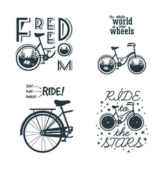 set prints with bicycle slogan for t-shirt or vector image