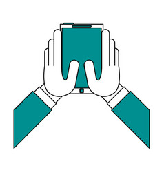 Smartphone and hands vector
