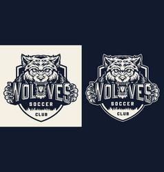 Soccer club vintage monochrome label vector