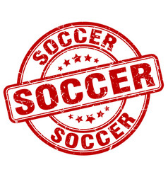 soccer red grunge round vintage rubber stamp vector image