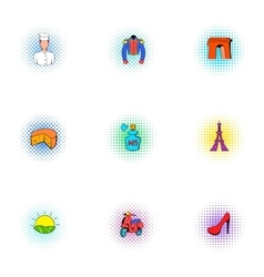 Stay in france icons set pop-art style vector