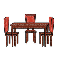 Table dinning room with chairs vector