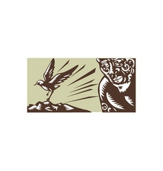 Tagaloa Looking at Plover Bird Woodcut vector
