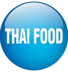 Thai food blue round gel isolated push button vector