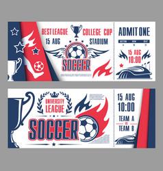 Tickets of football soccer league vector