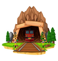 Train ride on the track through tunnel vector