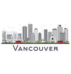 Vancouver canada city skyline with gray buildings vector