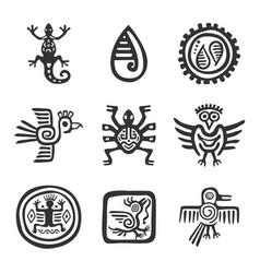 Variety inca symbols set vector