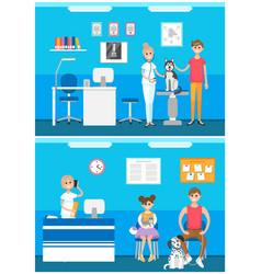 veterinarian clinic reception patients with pets vector image