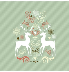 Vintage Merry Christmas decoration with reindeers vector image