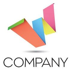 W origami logo vector