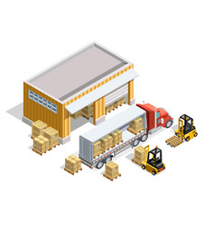 Warehouse isometric template vector
