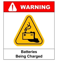 Warning battery charging sign vector image