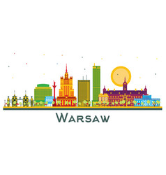 Warsaw poland city skyline with color buildings vector