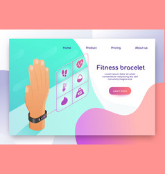 Wearable fitness bracelet isometric website vector