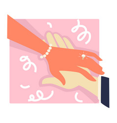 wedding ceremony or engagement womans hand with vector image