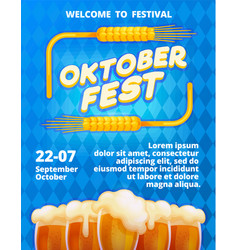 welcome oktoberfest concept banner cartoon style vector image