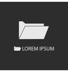 White computer folder as logo on dark grey vector