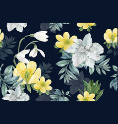 Winter bloom pattern design with galanthus vector
