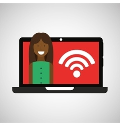 Woman laptop wifi internet icon graphic vector